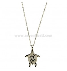 CHARM TURTLE MM 27x20 STEEL TWO TONE PLATED RUTHENIUM AND WHITE ZIRCONIA WITH CHAIN CABLE CM 45.50