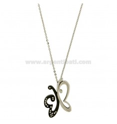 PENDANT BUTTERFLY MM 28x21 STEEL TWO TONE PLATED RUTHENIUM AND ZIRCONIA WITH CHAIN CABLE CM 45.50