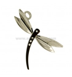 PENDANT DRAGONFLY MM 36x26 STEEL TWO TONE PLATED RUTHENIUM AND ZIRCONIA