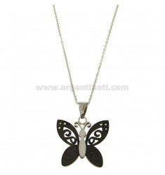 PENDANT BUTTERFLY MM 28x30 STEEL TWO TONE PLATED RUTHENIUM AND ZIRCONIA WITH CHAIN CABLE 50 CM