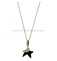 CHARM STARFISH MM 20x17 STEEL TWO TONE PLATED RUTHENIUM AND ZIRCONIA WITH CHAIN CABLE 50 CM