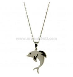 CHARM DOLPHIN MM 31X21 ROLLED STEEL INSERTS AND RUTHENIUM ZIRCONE BLACK WITH CHAIN CABLE 50 CM