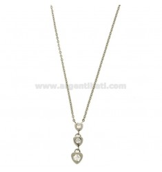 PENDANT 3 HEARTS HANGING WITH ZIRCONIA STEEL CABLE WITH CHAIN 50 CM