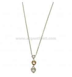PENDANT 3 HEARTS HANGING WITH ZIRCONIA STEEL TWO TONE ROSE GOLD PLATED WITH CABLE CHAIN 50 CM