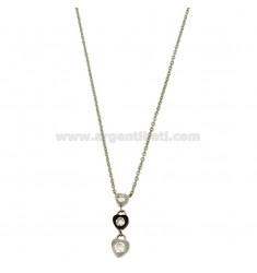 PENDANT 3 HEARTS HANGING WITH ZIRCONIA STEEL TWO TONE PLATED RUTHENIUM CHAIN CABLE 50 CM