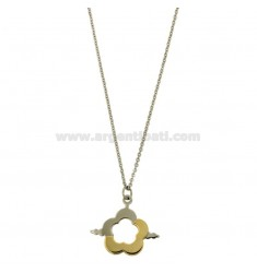 CHARM FLOWER MM 22x24 STEEL TWO TONE PLATED GOLD CHAIN CABLE 50 CM