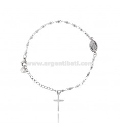 BRACELET ROSARY WITH HANDS IN STEEL CM 17.23 MM3 MIRACULOUS MADONNA AND CROSS PENDANT