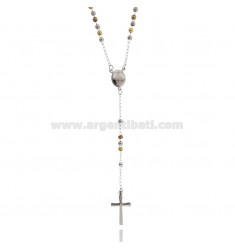 ROSARY NECKLACE WITH BALL 3 CM 60 MM SMOOTH STEEL RHODIUM PLATED, YELLOW GOLD AND PINK GOLD