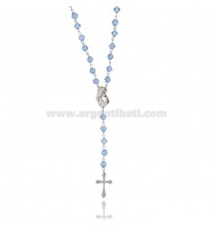 ROSARY NECKLACE IN STAINLESS STEEL WITH HEAVENLY STONES FACED 6 MM 60 CM