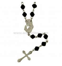 ROSARY NECKLACE IN STEEL WITH BLACK STONES faceted MM 6 CM 60