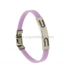LILAC RUBBER BRACELET WITH PERFORATED PLATE IN STEEL ARCHES WITH BILAMINE BRASS AND GOLD VITINS