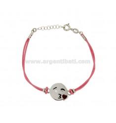 Armband mit rosa Seide cerata EMOTICONS KISS 15 MM Silber rhodiniert TIT 925 ‰ und die polnische CM 16.18