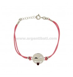 Armband mit rosa Seide EMOTICONS Zunge 15 MM Silber rhodiniert TIT 925 ‰ und die polnische CM 16.18
