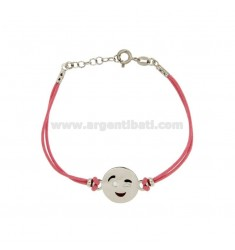 BRACELET WITH PINK SILK EMOTICONS Wink 15 MM SILVER RHODIUM TIT 925 ‰ AND POLISH CM 16.18