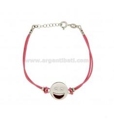 Armband mit rosa Seide EMOTICONS SMILE 15 MM Silber rhodiniert TIT 925 ‰ und die polnische CM 16.18