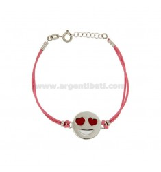 BRACELET IN SILK ROSE WITH LOVE EMOTICONS 17 MM SILVER RHODIUM TIT 925 ‰ AND POLISH CM 16.18