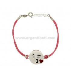 Armband mit rosa Seide cerata EMOTICONS KISS 17 MM Silber rhodiniert TIT 925 ‰ und die polnische CM 16.18