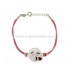 BRACELET WITH PINK SILK CERATA EMOTICONS KISS 17 MM SILVER RHODIUM TIT 925 ‰ AND POLISH CM 16.18