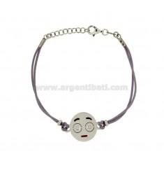 Armband mit lila Seide EMOTICONS SPOILT 15 MM Silber rhodiniert TIT 925 ‰ und die polnische CM 16.18