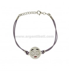 BRACELET WITH LILAC SILK EMOTICONS SPOILT 15 MM SILVER RHODIUM TIT 925 ‰ AND POLISH CM 16.18