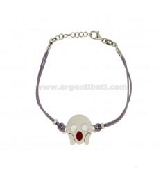 LILA SILK Armband mit FEAR EMOTICONS 15 MM Silber rhodiniert TIT 925 ‰ und die polnische CM 16.18