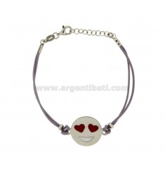 LILAC SILK BRACELET WITH LOVE EMOTICONS 17 MM SILVER RHODIUM TIT 925 ‰ AND POLISH CM 16.18