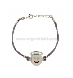 BRACELET WITH LILAC SILK EMOTICONS ANGELO 17 MM SILVER RHODIUM TIT 925 ‰ AND POLISH CM 16.18