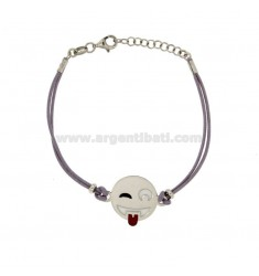 BRACELET lilac silk with emoticons tongue 17 MM SILVER RHODIUM TIT 925 ‰ AND POLISH CM 16.18