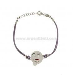 Armband mit lila Seide EMOTICONS nachdenklich 17 MM Silber rhodiniert TIT 925 ‰ und die polnische CM 16.18