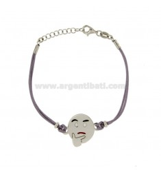 BRACELET WITH LILAC SILK EMOTICONS thoughtfully 17 MM SILVER RHODIUM TIT 925 ‰ AND POLISH CM 16.18