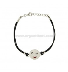 BRACELET WITH BLACK SILK EMOTICONS Wink 15 MM SILVER RHODIUM TIT 925 ‰ AND POLISH CM 16.18