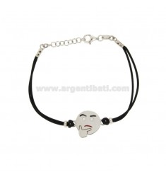 BRACELET WITH BLACK SILK EMOTICONS thoughtfully 15 MM SILVER RHODIUM TIT 925 ‰ AND POLISH CM 16.18
