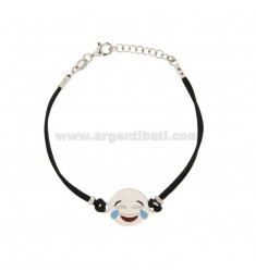 BRACELET IN BLACK SILK WITH LAUGHTER EMOTICONS 15 MM SILVER RHODIUM TIT 925 ‰ AND POLISH CM 16.18
