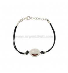 BRACELET WITH BLACK SILK EMOTICONS SMILE 15 MM SILVER RHODIUM TIT 925 ‰ AND POLISH CM 16.18