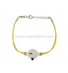 BRACELET WITH YELLOW SILK EMOTICONS tongue 15 MM SILVER RHODIUM TIT 925 ‰ AND POLISH CM 16.18