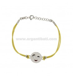 BRACELET WITH YELLOW SILK EMOTICONS Wink 15 MM SILVER RHODIUM TIT 925 ‰ AND POLISH CM 16.18