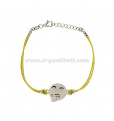 BRACELET WITH YELLOW SILK EMOTICONS thoughtfully 15 MM SILVER RHODIUM TIT 925 ‰ AND POLISH CM 16.18