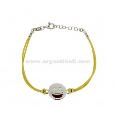 BRACELET WITH YELLOW SILK EMOTICONS SMILE 15 MM SILVER RHODIUM TIT 925 ‰ AND POLISH CM 16.18