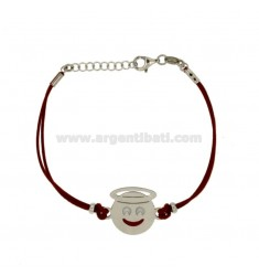 BRACCIALE IN SETA ROSSA CON EMOTICONS ANGELO MM 17 IN ARGENTO RODIATO TIT 925‰ E SMALTO CM 16-18