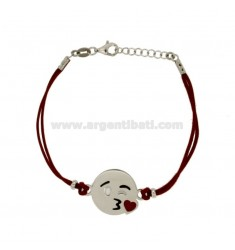 BRACCIALE IN SETA CERATA ROSSA CON EMOTICONS BACIO MM 17 IN ARGENTO RODIATO TIT 925‰ E SMALTO CM 16-18