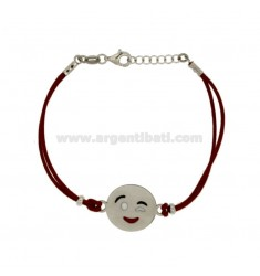 BRACELET WITH RED SILK EMOTICONS Wink 17 MM SILVER RHODIUM TIT 925 ‰ AND POLISH CM 16.18