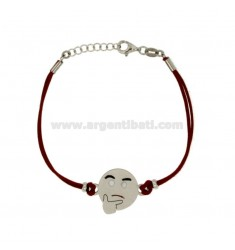 BRACCIALE IN SETA ROSSA CON EMOTICONS PENSIEROSO MM 17 IN ARGENTO RODIATO TIT 925‰ E SMALTO CM 16-18