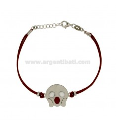 BRACCIALE IN SETA ROSSA CON EMOTICONS PAURA MM 17 IN ARGENTO RODIATO TIT 925‰ E SMALTO CM 16-18