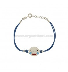 BRACELET WITH BLUE SILK EMOTICONS LAUGHTER 15 MM SILVER RHODIUM TIT 925 ‰ AND POLISH CM 16.18