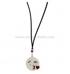NECKLACE WITH BLACK SILK CERATA EMOTICONS KISS 17 MM SILVER RHODIUM TIT 925 ‰ AND GLAZE