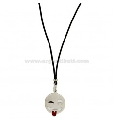 NECKLACE WITH BLACK SILK EMOTICONS tongue 17 MM SILVER RHODIUM TIT 925 ‰ AND GLAZE