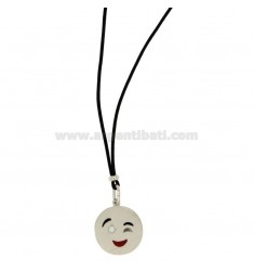 NECKLACE WITH BLACK SILK EMOTICONS Wink 17 MM SILVER RHODIUM TIT 925 ‰ AND GLAZE