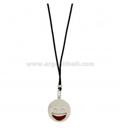 NECKLACE WITH BLACK SILK EMOTICONS SMILE 17 MM SILVER RHODIUM TIT 925 ‰ AND GLAZE