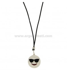 NECKLACE IN BLACK SILK WITH HOLIDAY EMOTICONS 17 MM SILVER RHODIUM TIT 925 ‰ AND GLAZE
