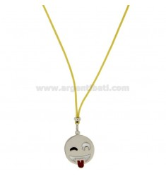 NECKLACE WITH YELLOW SILK EMOTICONS tongue 17 MM SILVER RHODIUM TIT 925 ‰ AND GLAZE